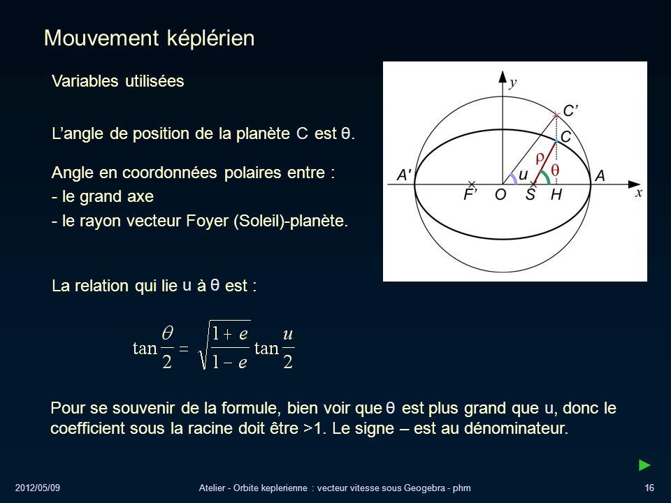 2012/05/09Atelier - Orbite keplerienne : vecteur vitesse sous Geogebra - phm16 Mouvement képlérien Variables utilisées Angle en coordonnées polaires e