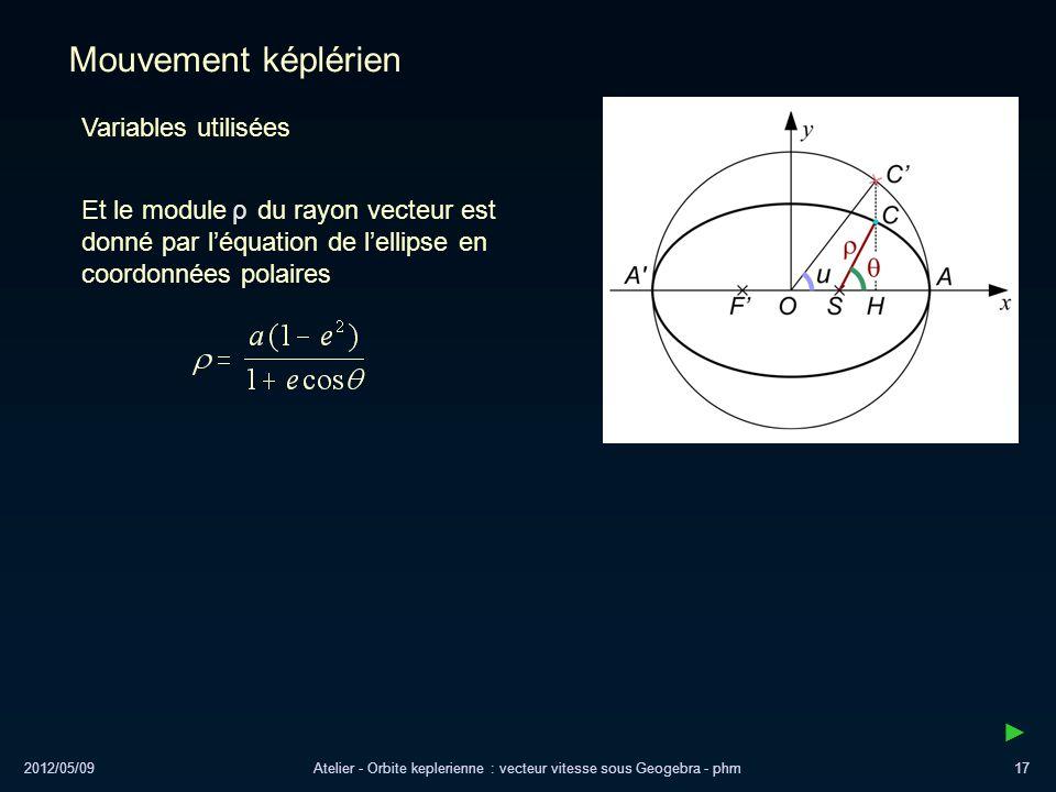 2012/05/09Atelier - Orbite keplerienne : vecteur vitesse sous Geogebra - phm17 Mouvement képlérien Variables utilisées Et le module du rayon vecteur e