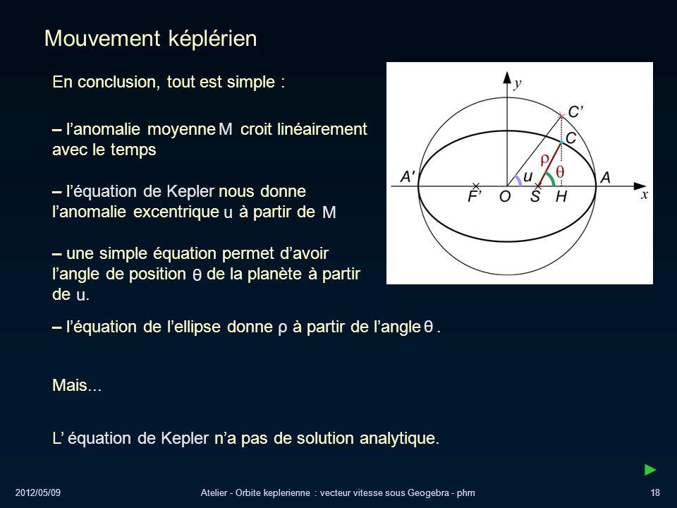 2012/05/09Atelier - Orbite keplerienne : vecteur vitesse sous Geogebra - phm18 Mouvement képlérien En conclusion, tout est simple : Mais... – lanomali