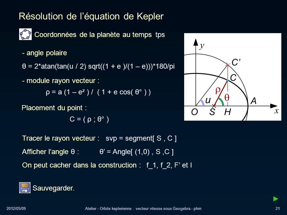 2012/05/09Atelier - Orbite keplerienne : vecteur vitesse sous Geogebra - phm21 Résolution de léquation de Kepler - angle polaire θ = 2*atan(tan(u / 2)