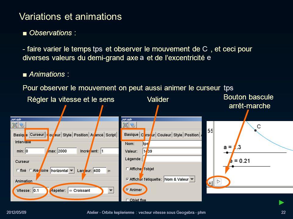 2012/05/09Atelier - Orbite keplerienne : vecteur vitesse sous Geogebra - phm22 Variations et animations Observations : Régler la vitesse et le sensVal