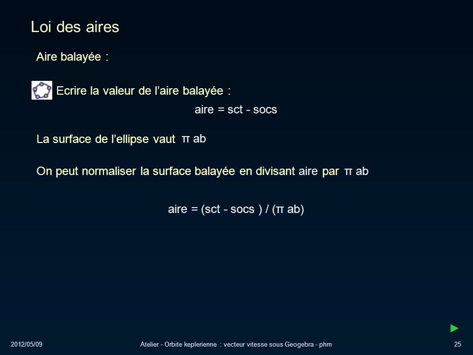 2012/05/09Atelier - Orbite keplerienne : vecteur vitesse sous Geogebra - phm25 Loi des aires aire = sct - socs Ecrire la valeur de laire balayée : air