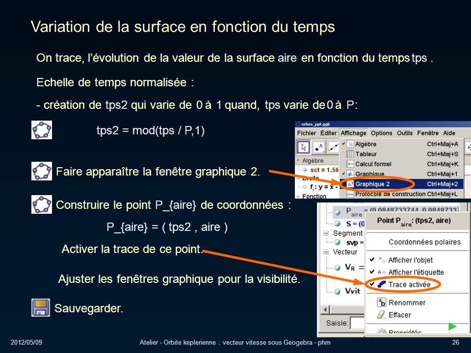 2012/05/09Atelier - Orbite keplerienne : vecteur vitesse sous Geogebra - phm26 Variation de la surface en fonction du temps Echelle de temps normalisé