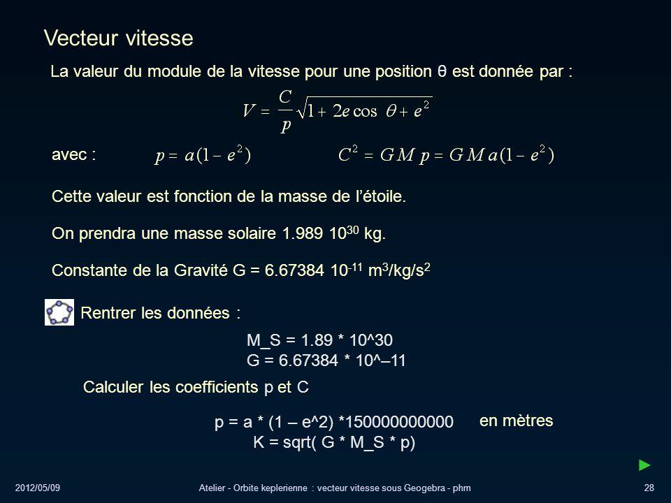 2012/05/09Atelier - Orbite keplerienne : vecteur vitesse sous Geogebra - phm28 Vecteur vitesse avec : Cette valeur est fonction de la masse de létoile