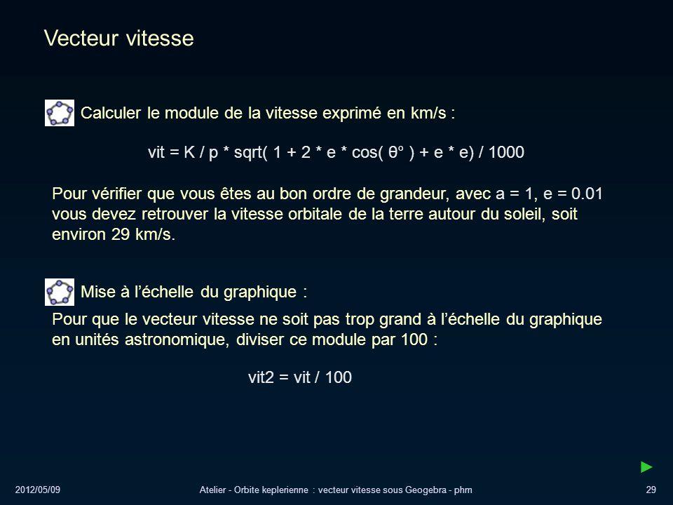 2012/05/09Atelier - Orbite keplerienne : vecteur vitesse sous Geogebra - phm29 Vecteur vitesse Calculer le module de la vitesse exprimé en km/s : vit