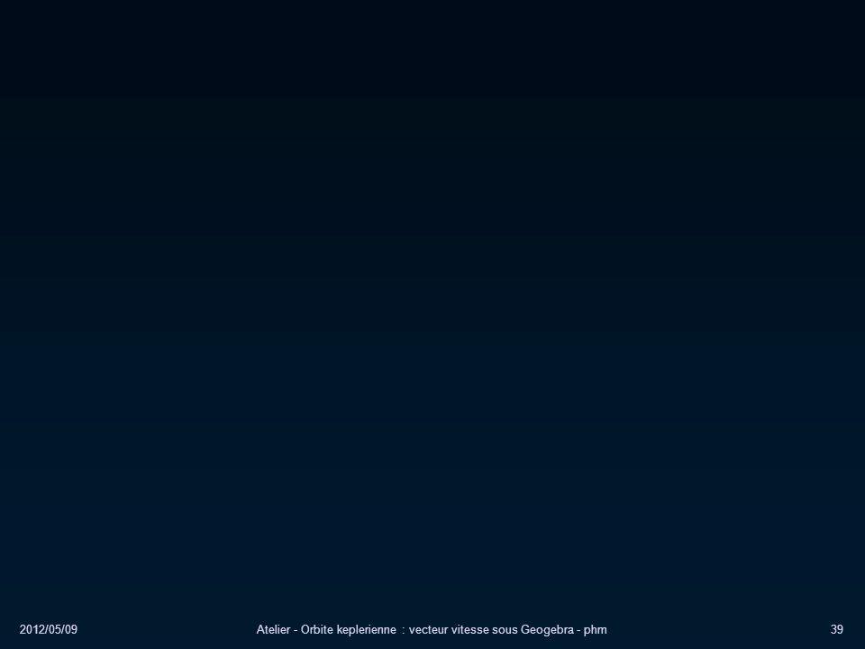 2012/05/09Atelier - Orbite keplerienne : vecteur vitesse sous Geogebra - phm39