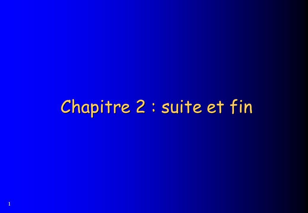 1 Chapitre 2 : suite et fin Chapitre 2 : suite et fin