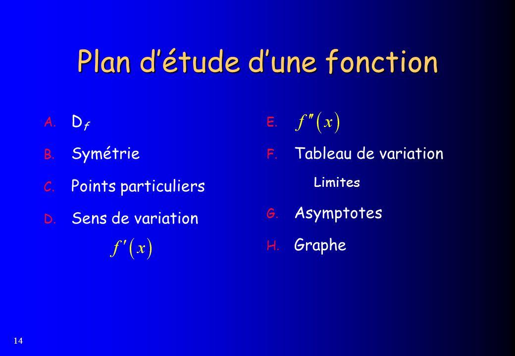 14 Plan détude dune fonction A. D f B. Symétrie C. Points particuliers D. Sens de variation E. F. Tableau de variation Limites G. Asymptotes H. Graphe