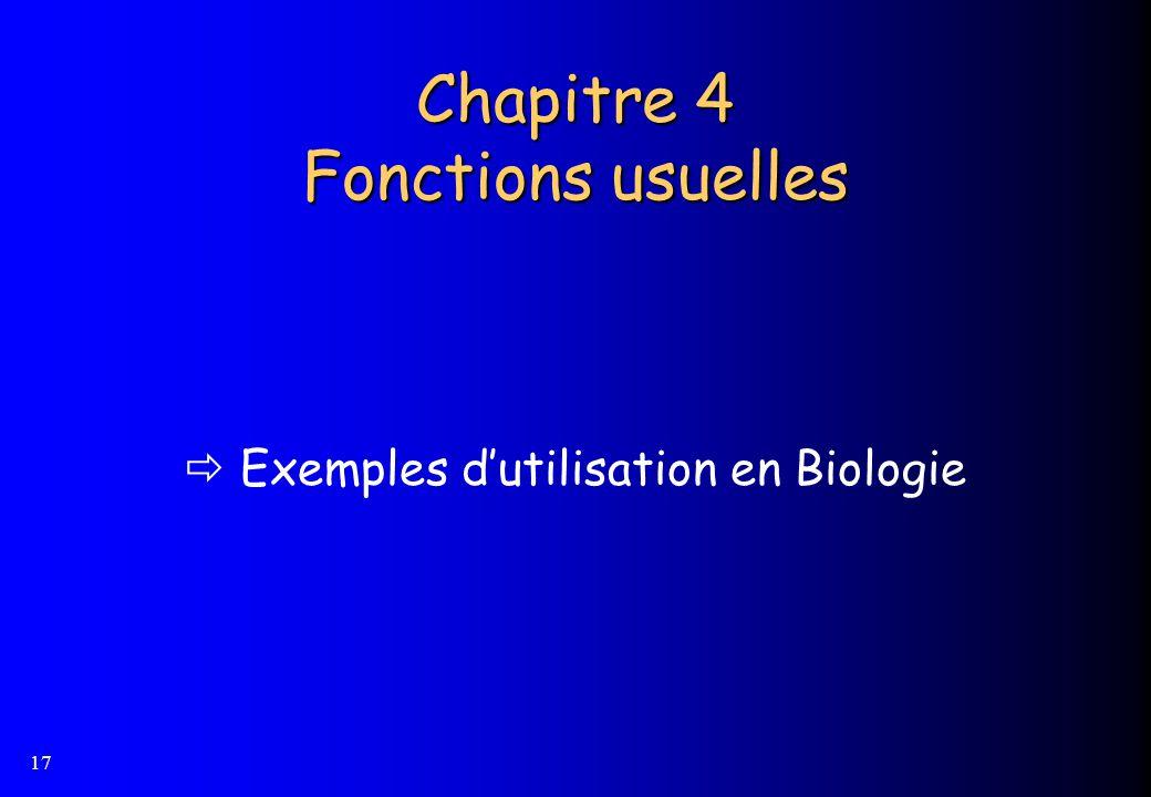 17 Chapitre 4 Fonctions usuelles Exemples dutilisation en Biologie