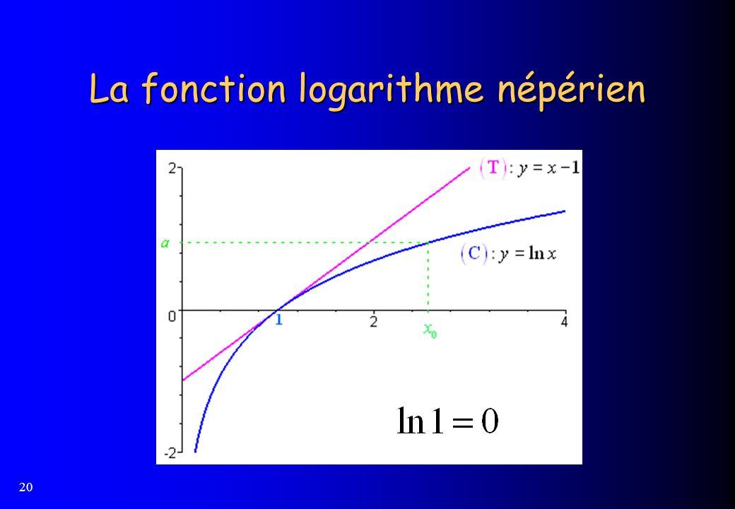 20 La fonction logarithme népérien