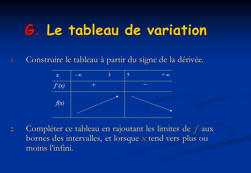 G. Le tableau de variation 1. Construire le tableau à partir du signe de la dérivée. 2. Compléter ce tableau en rajoutant les limites de f aux bornes
