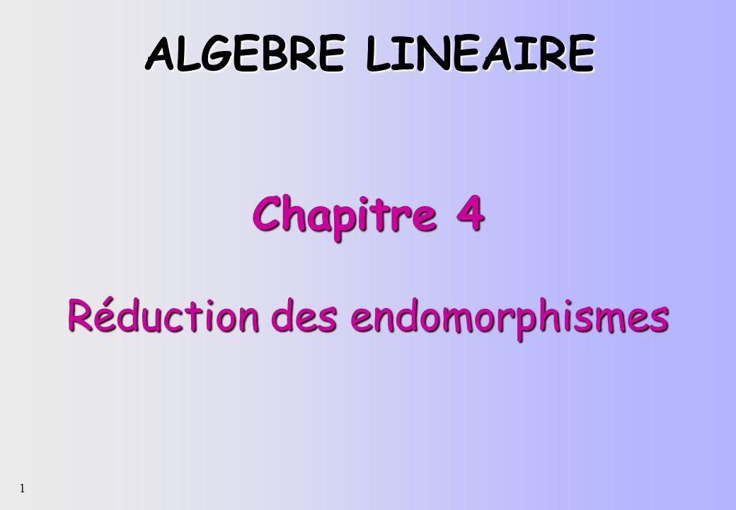 1 Chapitre 4 Réduction des endomorphismes ALGEBRE LINEAIRE