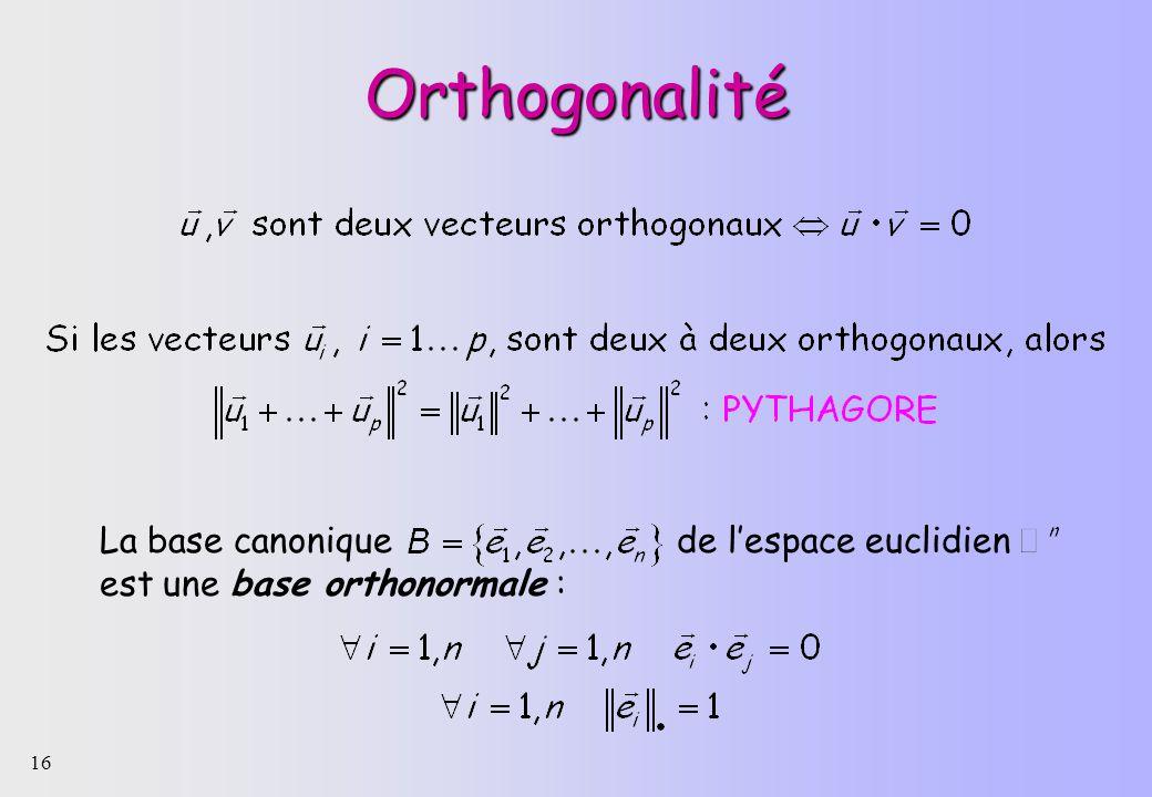 16 Orthogonalité La base canonique de lespace euclidien est une base orthonormale :
