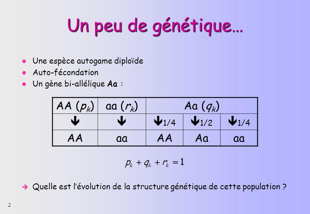 2 Un peu de génétique… Une espèce autogame diploïde Auto-fécondation Aa Un gène bi-allélique Aa : Quelle est lévolution de la structure génétique de cette population .
