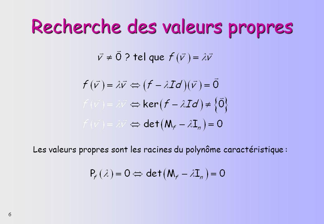 6 Recherche des valeurs propres Les valeurs propres sont les racines du polynôme caractéristique :