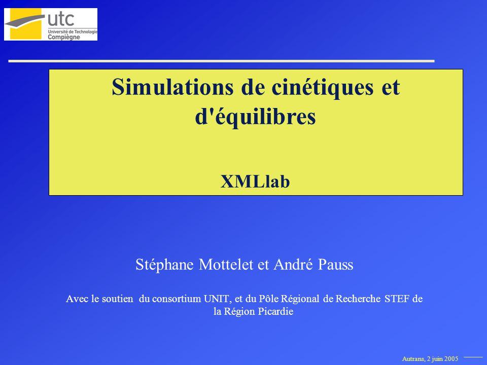 Autrans, 2 juin 2005 Simulations de cinétiques et d équilibres XMLlab Stéphane Mottelet et André Pauss Avec le soutien du consortium UNIT, et du Pôle Régional de Recherche STEF de la Région Picardie