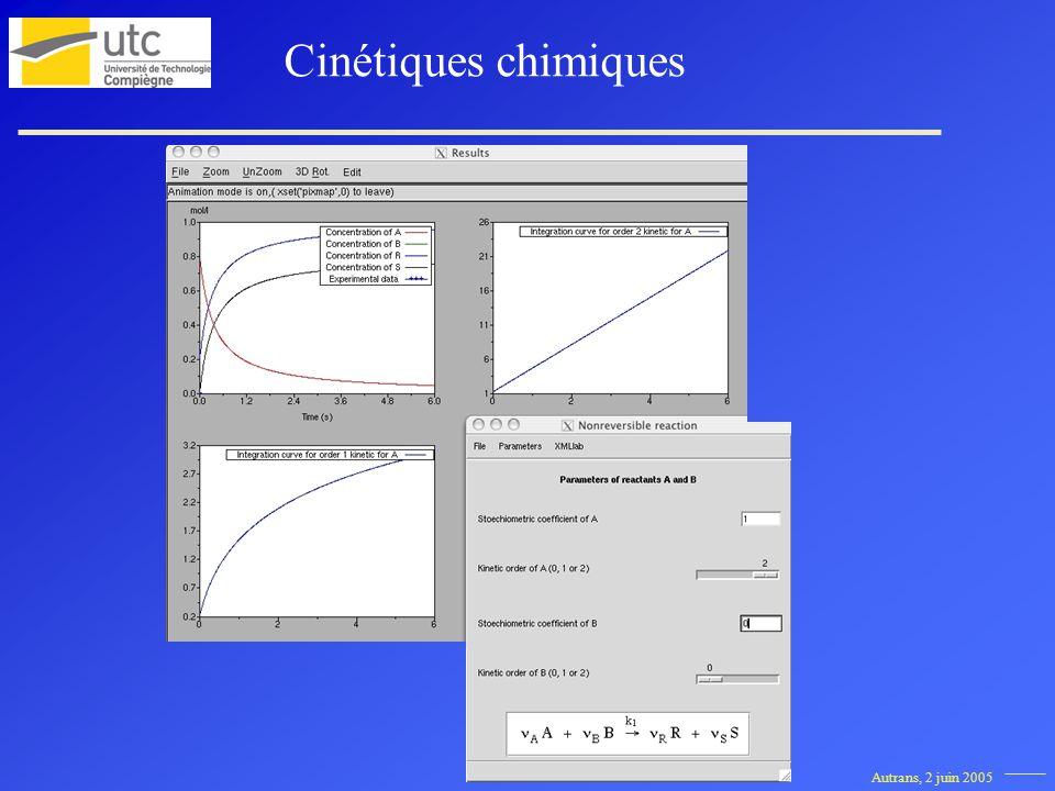 Autrans, 2 juin 2005 Cinétiques chimiques