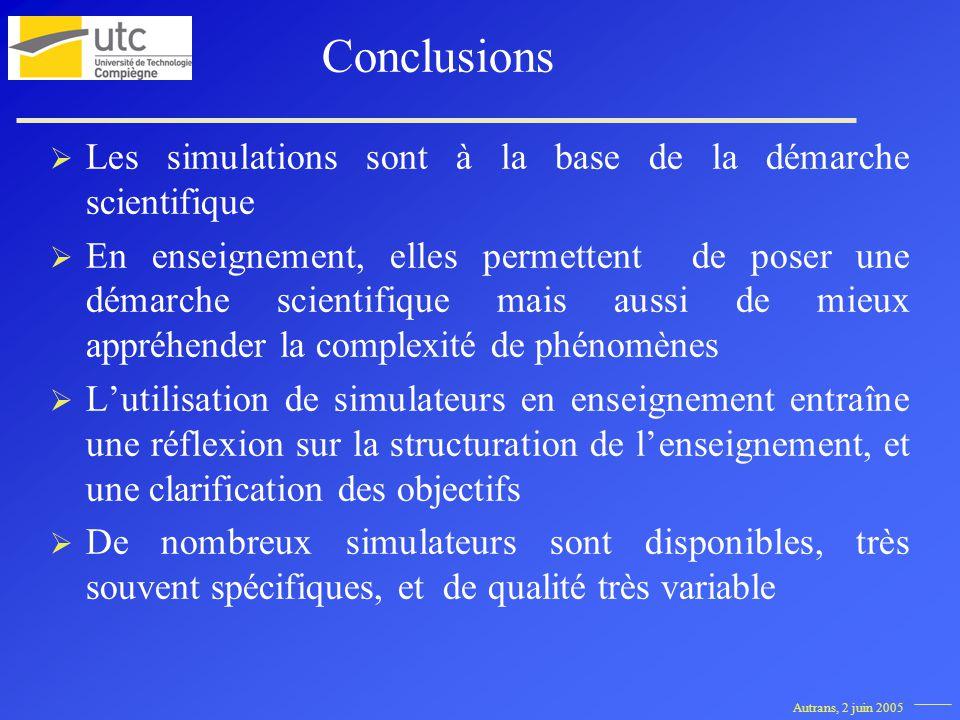 Autrans, 2 juin 2005 Les simulations sont à la base de la démarche scientifique En enseignement, elles permettent de poser une démarche scientifique m