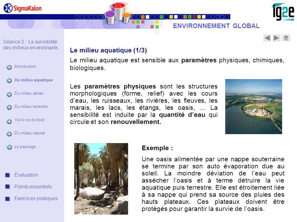 ENVIRONNEMENT GLOBAL Le milieu aquatique est sensible aux paramètres physiques, chimiques, biologiques. Exemple : Une oasis alimentée par une nappe so
