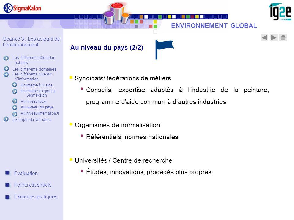 ENVIRONNEMENT GLOBAL Syndicats/ fédérations de métiers Conseils, expertise adaptés à l'industrie de la peinture, programme d'aide commun à dautres ind