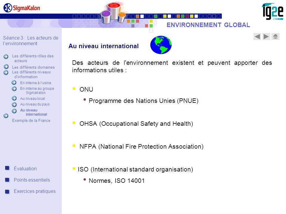 ENVIRONNEMENT GLOBAL Des acteurs de l'environnement existent et peuvent apporter des informations utiles : ONU Programme des Nations Unies (PNUE) OHSA