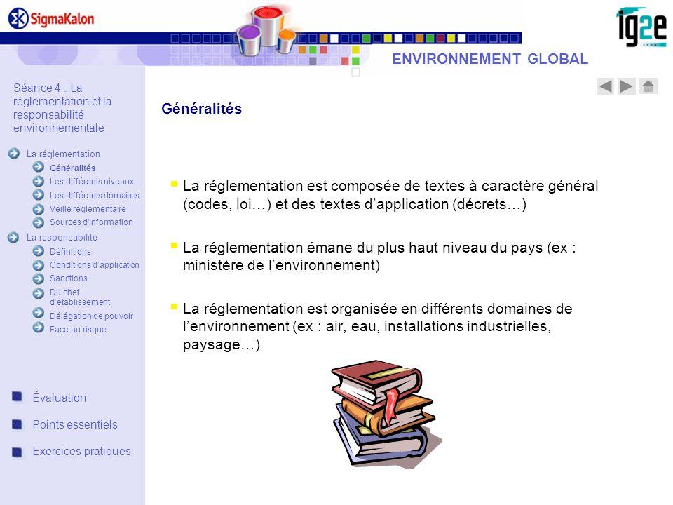 ENVIRONNEMENT GLOBAL La réglementation est composée de textes à caractère général (codes, loi…) et des textes dapplication (décrets…) La réglementatio