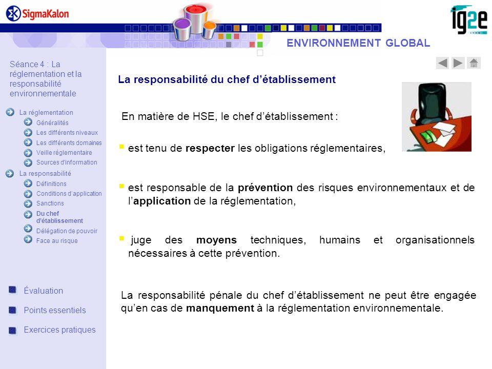 ENVIRONNEMENT GLOBAL La responsabilité du chef détablissement En matière de HSE, le chef détablissement : est tenu de respecter les obligations réglem