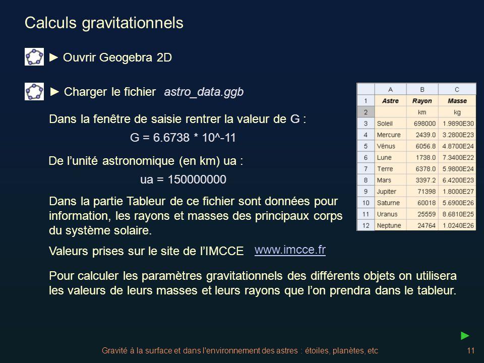 Gravité à la surface et dans l'environnement des astres : étoiles, planètes, etc11 Calculs gravitationnels Dans la partie Tableur de ce fichier sont d