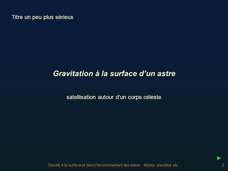 Gravité à la surface et dans l environnement des astres : étoiles, planètes, etc3 La force due à la gravitation qui retient les objets à la surface dun astre habituellement sphérique, sexprime de façon simple par la loi de Newton : Si lon applique cette force sur un objet de masse unité, on a la valeur de la gravité à la surface de ce corps appelée sur Terre.