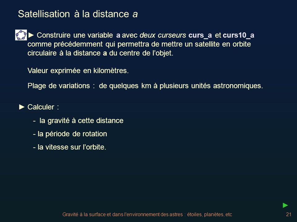 Gravité à la surface et dans l'environnement des astres : étoiles, planètes, etc21 Satellisation à la distance a Valeur exprimée en kilomètres. Calcul
