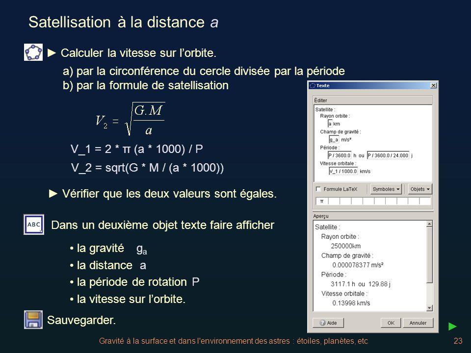 Gravité à la surface et dans l'environnement des astres : étoiles, planètes, etc23 Satellisation à la distance a a) par la circonférence du cercle div