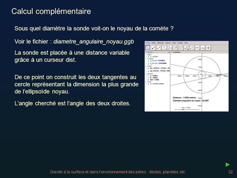 Gravité à la surface et dans l'environnement des astres : étoiles, planètes, etc32 Sous quel diamètre la sonde voit-on le noyau de la comète ? La sond