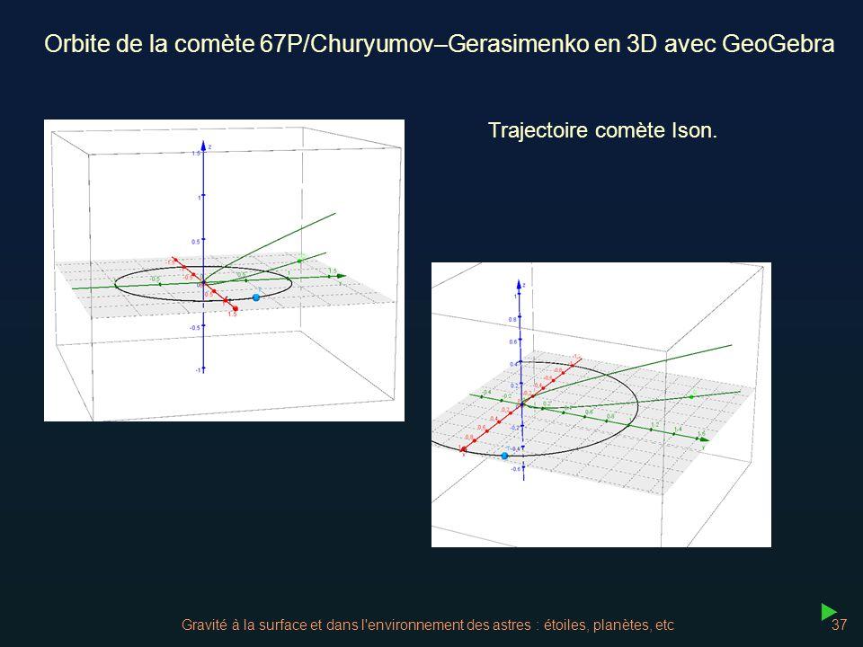 Gravité à la surface et dans l'environnement des astres : étoiles, planètes, etc37 Orbite de la comète 67P/Churyumov–Gerasimenko en 3D avec GeoGebra T
