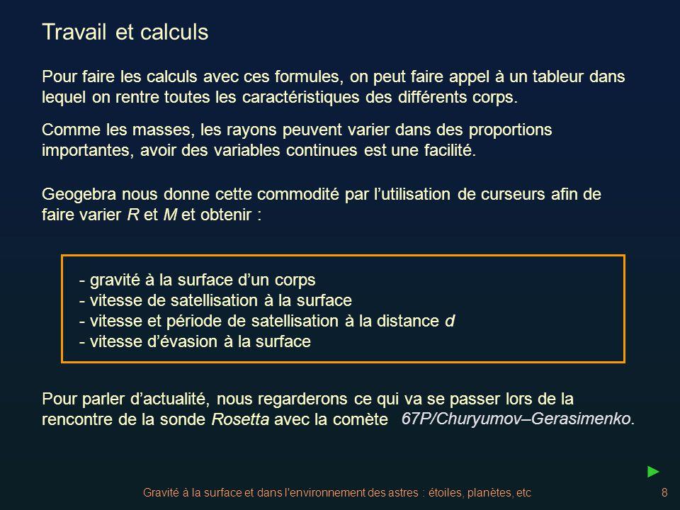 Gravité à la surface et dans l environnement des astres : étoiles, planètes, etc29 Le noyau de la comète V_{comete} = 4 / 3 π * a_c * 1000 (b_c * 1000)^2 a_c = 2.5 b_c = 1.5 dans Geogebra : M_{comète} = V_{comète} * 100 Donner la gravité à sa surface et comparer la à celle de la Terre Masse volumiquer = 100 kg/m3r = 370 kg/m3 Grand axePetit axeGrand axePetit axe Gravité Comète Rap.