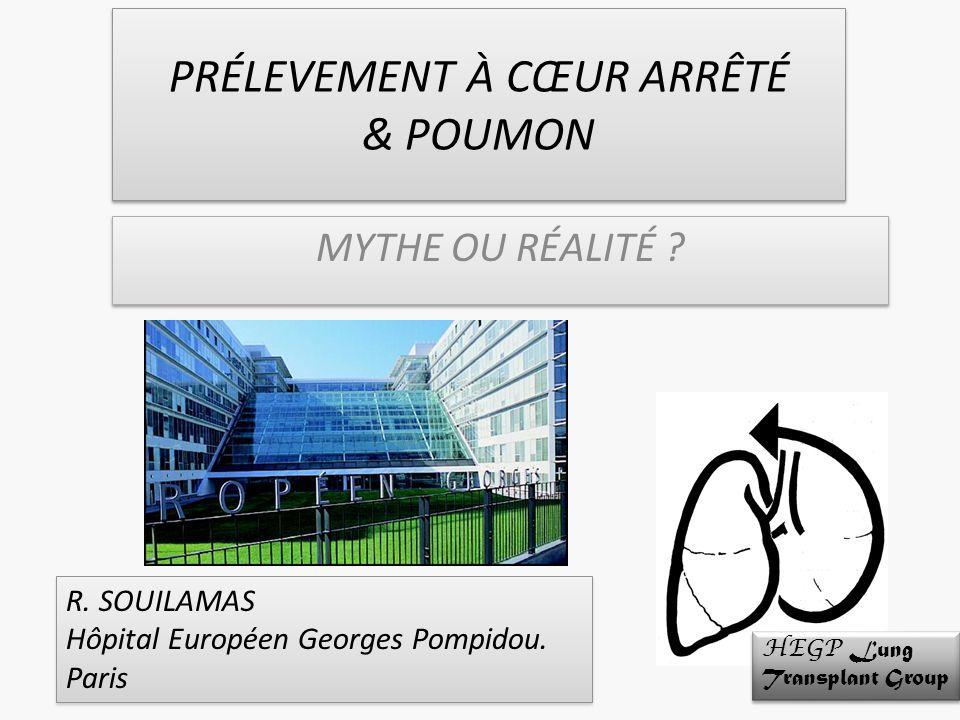 PRÉLEVEMENT À CŒUR ARRÊTÉ & POUMON MYTHE OU RÉALITÉ ? R. SOUILAMAS Hôpital Européen Georges Pompidou. Paris R. SOUILAMAS Hôpital Européen Georges Pomp