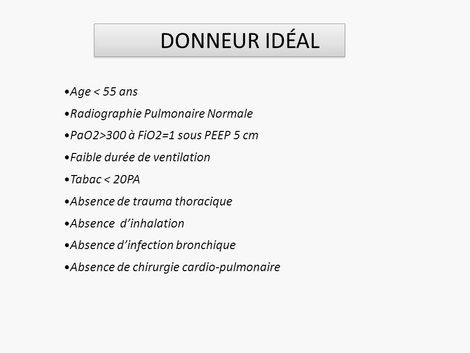 Age < 55 ans Radiographie Pulmonaire Normale PaO2>300 à FiO2=1 sous PEEP 5 cm Faible durée de ventilation Tabac < 20PA Absence de trauma thoracique Ab