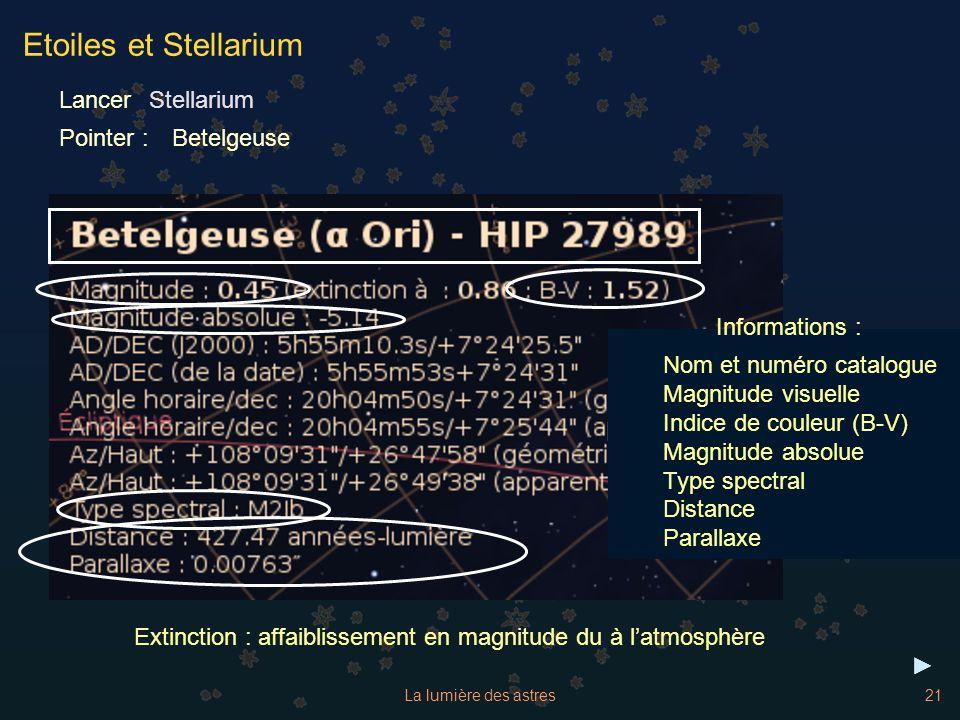 La lumière des astres21 Etoiles et Stellarium Lancer Pointer :Betelgeuse Informations : Nom et numéro catalogue Magnitude visuelle Indice de couleur (