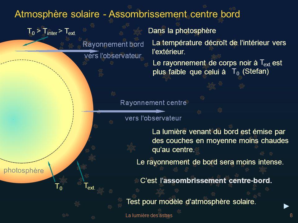 La lumière des astres8 Atmosphère solaire - Assombrissement centre bord La température décroît de lintérieur vers lextérieur. Test pour modèle datmosp