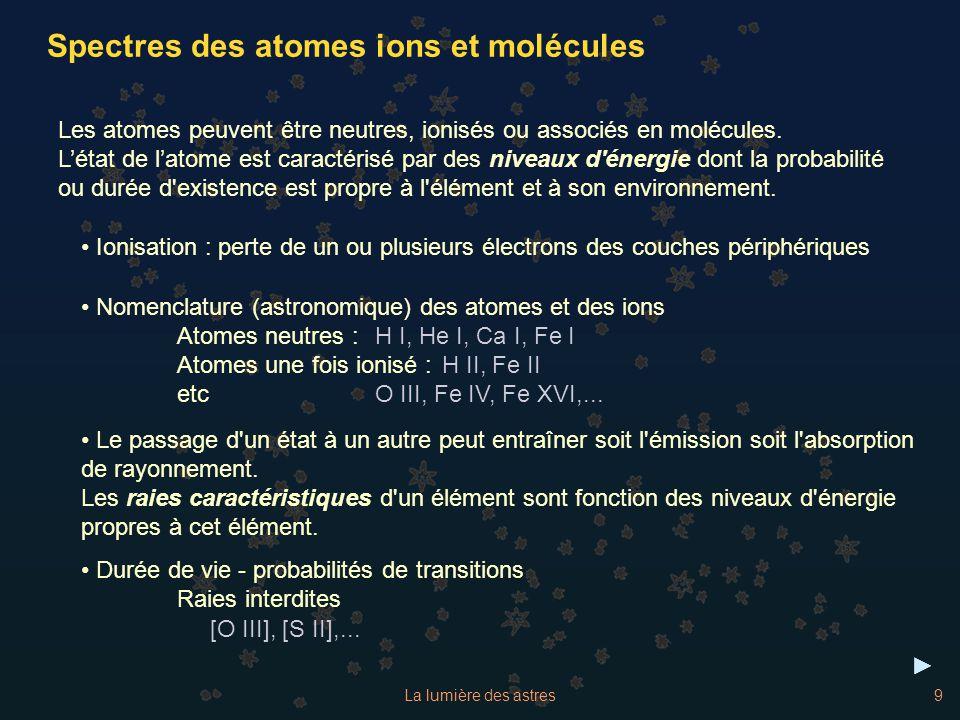 La lumière des astres10 Intensité des raies Lintensité dune raie est principalement fonction : - du nombre datomes ou dions dans létat de départ de la transition (absorption ou émission) - de la probabilité de transition de la raie (mécanique quantique de latome ou de lion) Le peuplement des niveaux est fonctions de : - la température - la pression (chocs) - du rayonnement