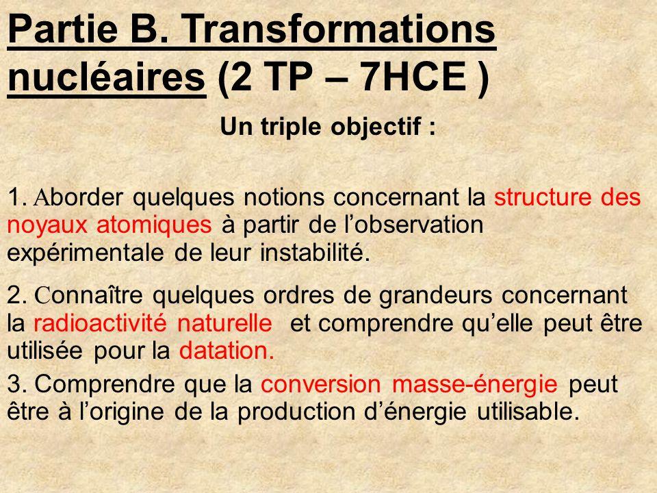 Un triple objectif : 1. A border quelques notions concernant la structure des noyaux atomiques à partir de lobservation expérimentale de leur instabil
