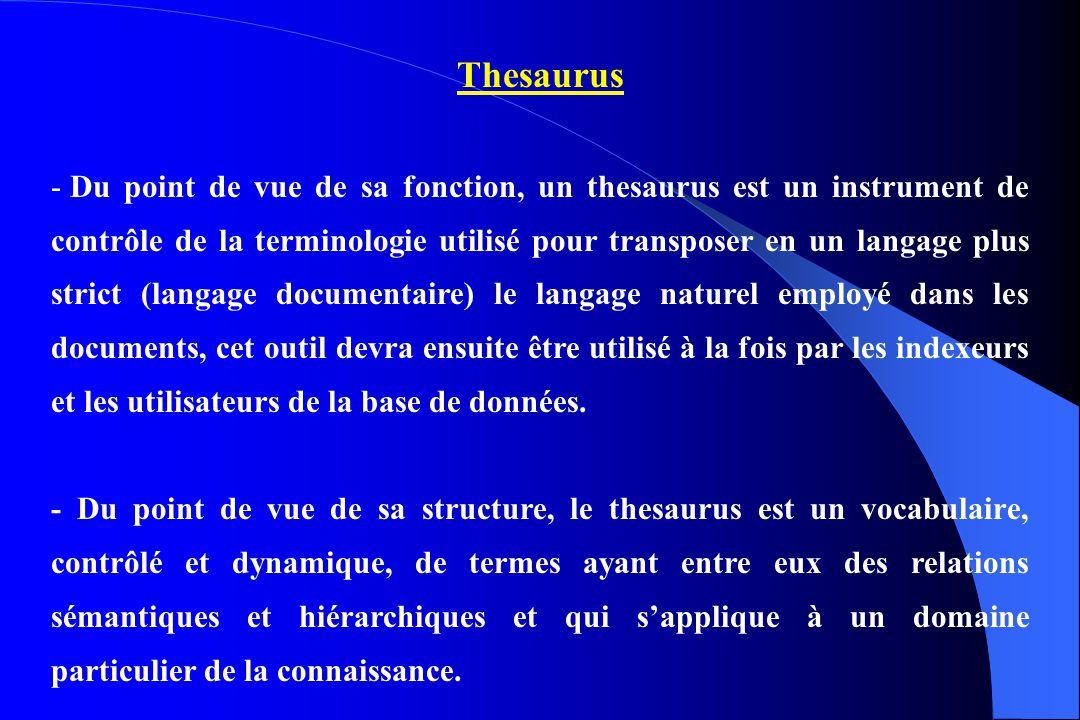 Thesaurus - Du point de vue de sa fonction, un thesaurus est un instrument de contrôle de la terminologie utilisé pour transposer en un langage plus s