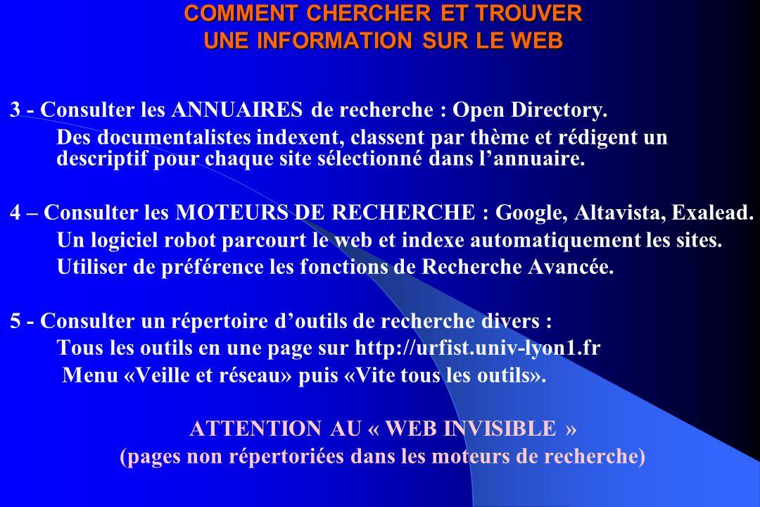 COMMENT CHERCHER ET TROUVER UNE INFORMATION SUR LE WEB 3 - Consulter les ANNUAIRES de recherche : Open Directory. Des documentalistes indexent, classe
