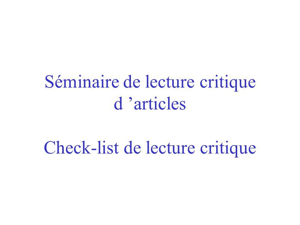 Séminaire de lecture critique d articles Check-list de lecture critique