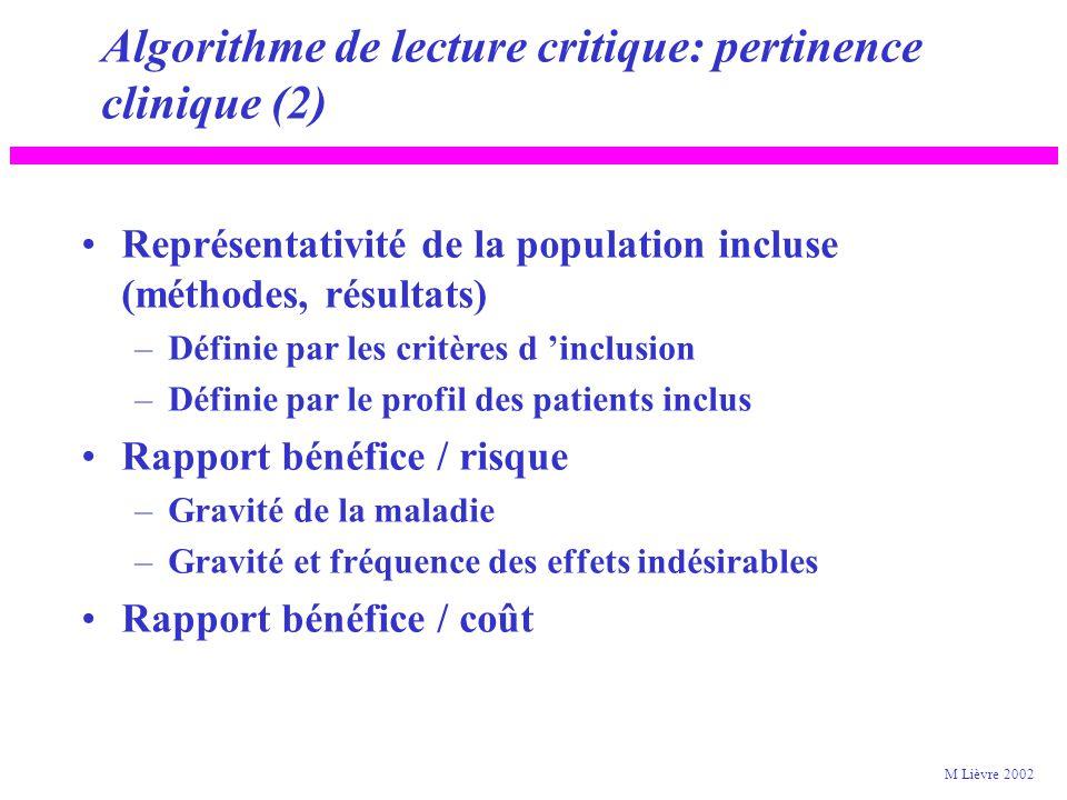 Algorithme de lecture critique: pertinence clinique (1) Taille et précision de l effet (résultats) –Effet « significatif », intervalle de confiance –Taille de l effet cliniquement pertinente.