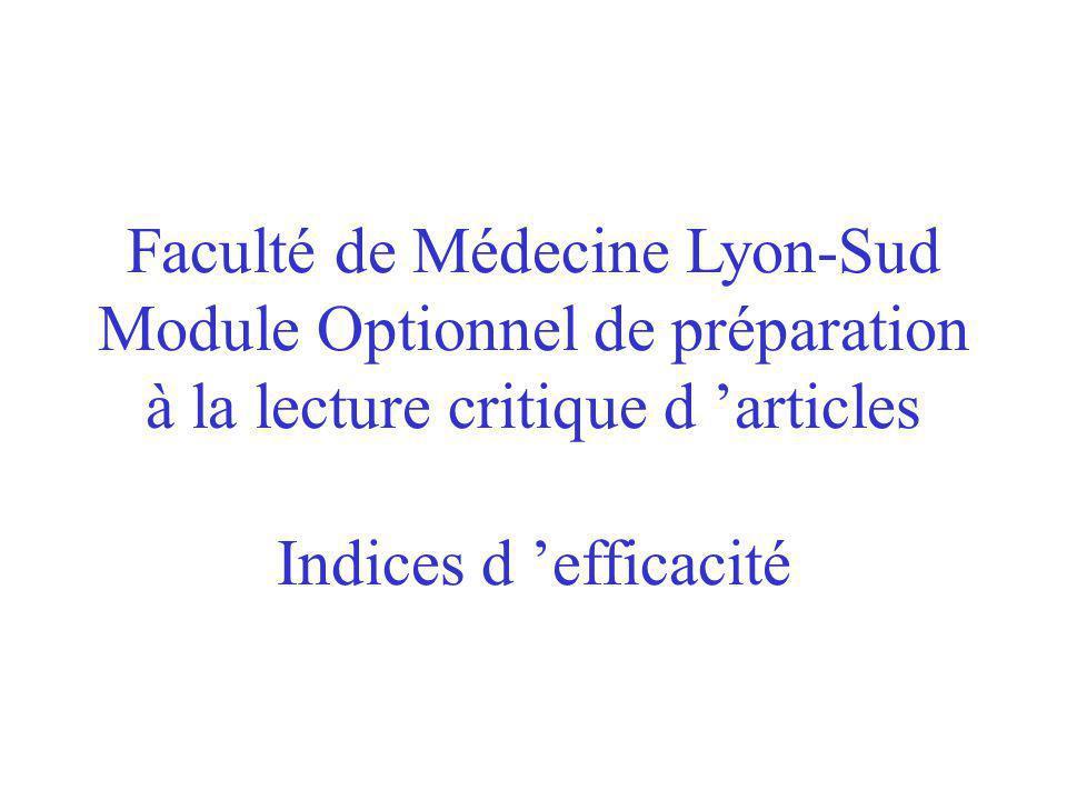 Faculté de Médecine Lyon-Sud Module Optionnel de préparation à la lecture critique d articles Indices d efficacité