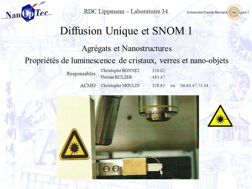 Diffusion Unique et SNOM 1 Agrégats et Nanostructures Propriétés de luminescence de cristaux, verres et nano-objets Responsables Christophe BONNET Flo