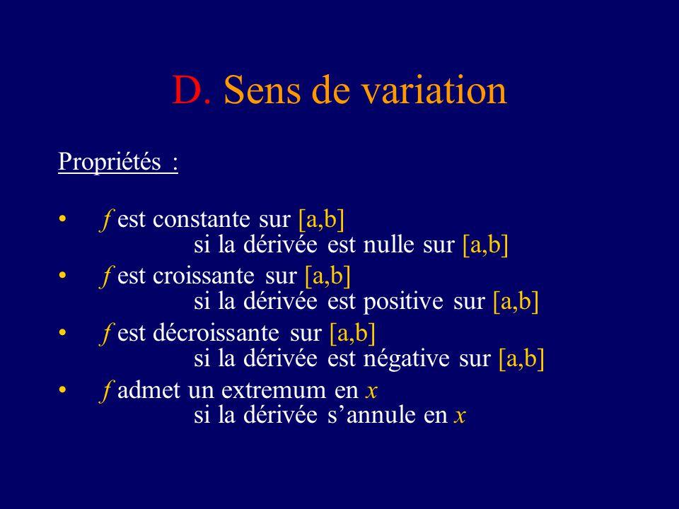 D. Sens de variation Propriétés : f est constante sur [a,b] si la dérivée est nulle sur [a,b] f est croissante sur [a,b] si la dérivée est positive su
