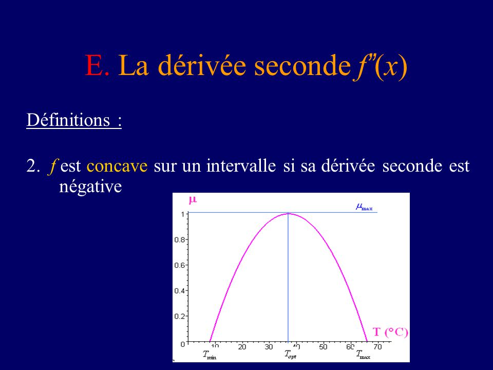 E. La dérivée seconde f (x) Définitions : 2. f est concave sur un intervalle si sa dérivée seconde est négative
