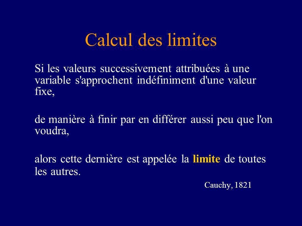 Calcul des limites Si les valeurs successivement attribuées à une variable s'approchent indéfiniment d'une valeur fixe, de manière à finir par en diff