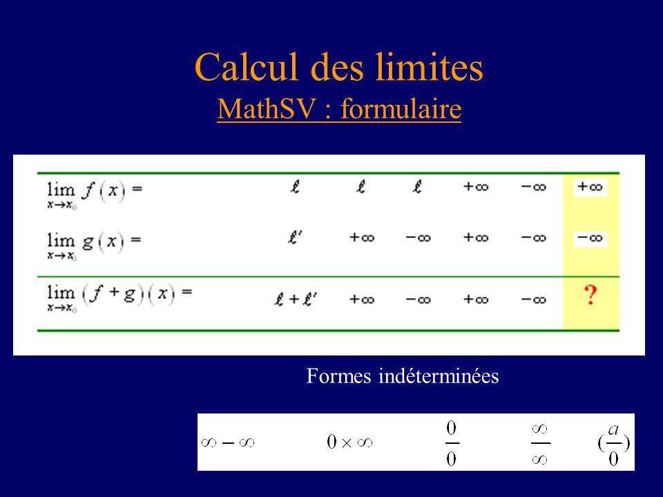 Calcul des limites MathSV : formulaire Formes indéterminées